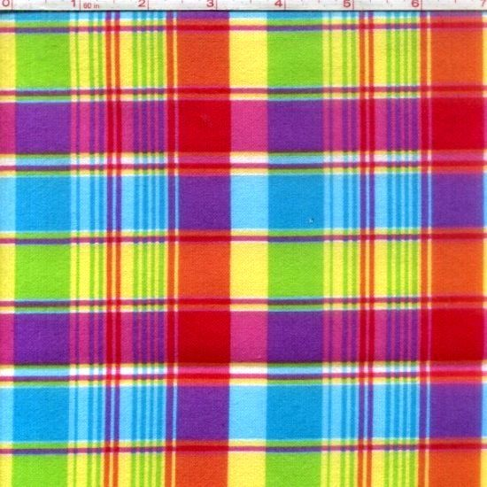 Cotton Quilt Fabric Flannel Madras Plaid Pink Purple Multi  - product image
