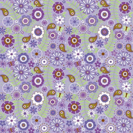 Cotton Flannel Quilt Fabric Flowers Purple Riley Blake Multi  - product image