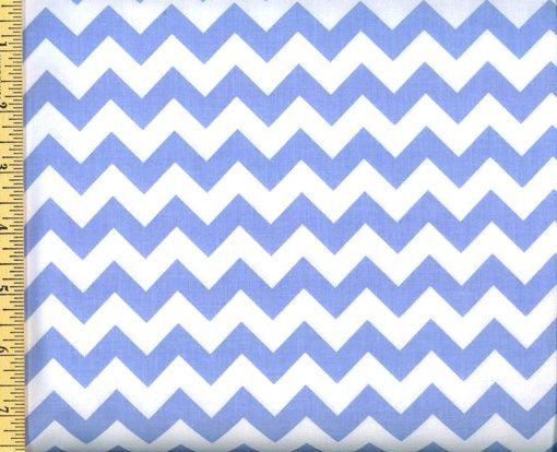 Cotton Quilt Fabric Chevron Stripe 60 Wide Baby Blue White