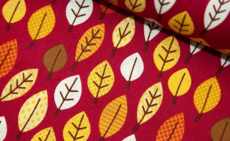 Cotton Quilt Fabric Happy Harvest Autumn Leaf Red Brown Orange - product images  of