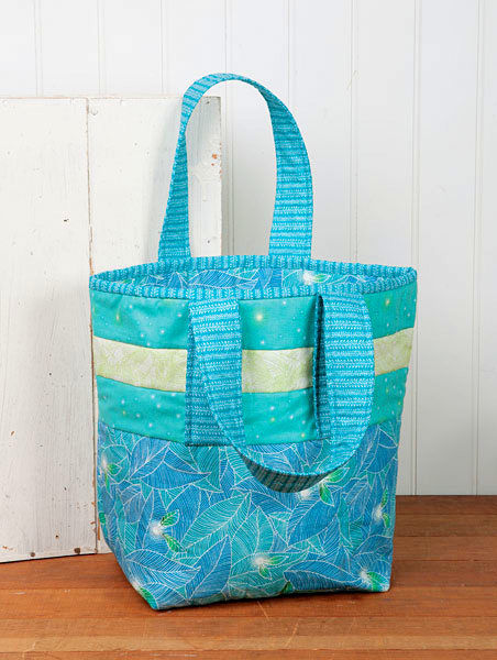 "Strip To The Beach Fabric Bag Kit Beach Tote Blue White 12"" x 13 "" - product images  of"