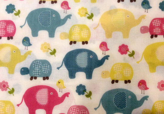 Cotton Quilt Fabric Sweet Meadow Elephants Turtles Floral - product images  of