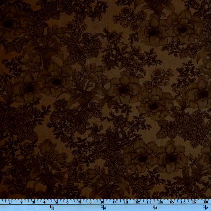 Cotton Quilt Fabric Cocoa Brown Etched Tonal Rose   - product image