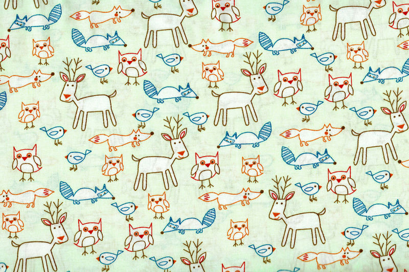Cotton Quilt Fabric Mod Animal Mix Deer Raccoon Bird Fox Lt Green  - product image