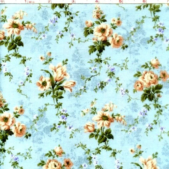 Cotton Quilt Fabric Bedford Place Small Floral Mint Aqua Blue  - product image