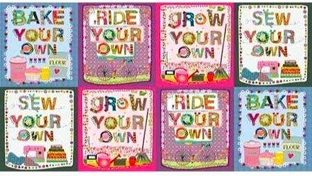 Cotton Quilt Fabric Panel Home Grown Whimsical Hobbies Sew Bake Garden Bike - product images  of