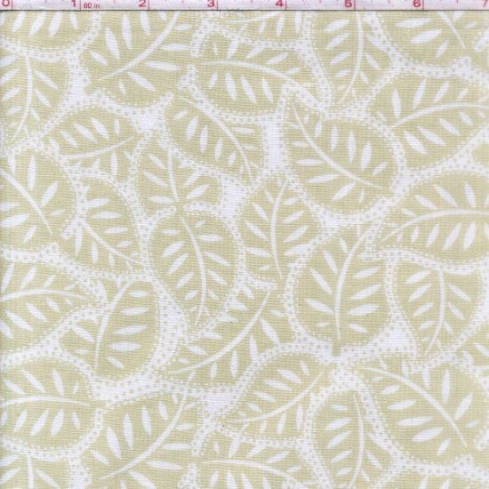 Cotton Quilt Fabric Black Tie Affair Leaves Off White Tan  - product image
