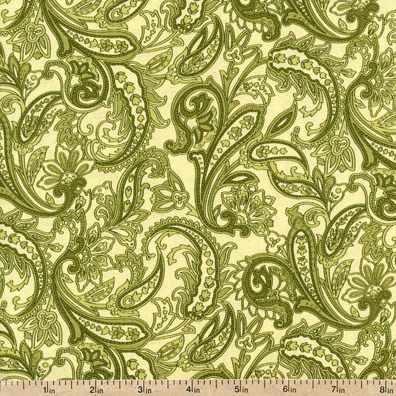 Cotton Quilt Fabric Indian Summer Cottage Paisley Green Benartex  - product image