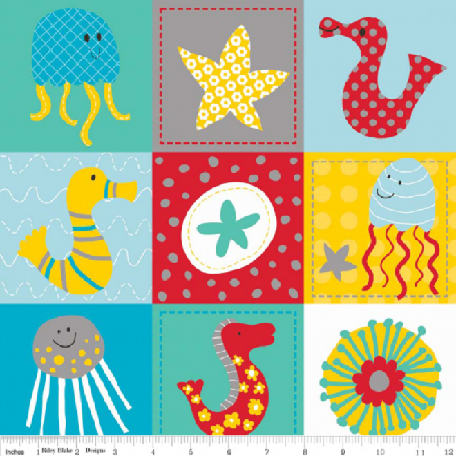 Cotton Quilt Fabric In The Ocean Riley Blake Sea Creatures Fish Kids Teal - product image