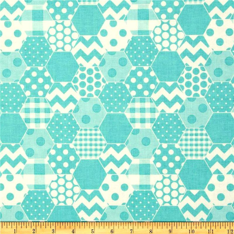 Cotton Quilt Fabric Riley Blake Hexi Print Aqua White Modern - product images  of
