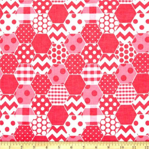 Cotton,Quilt,Fabric,Riley,Blake,Hexi,Print,Hot,Pink,White,Modern,quilt fabric,cotton material,auntie chris quilt,sewing,crafts,quilting,online fabric,sale fabric