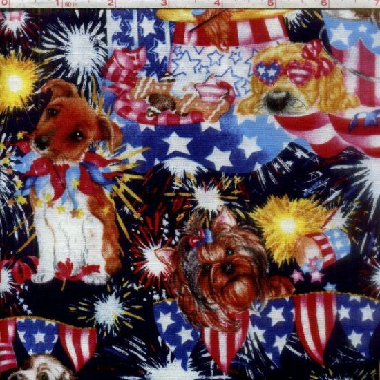 Cotton Quilt Fabric Puppy Sparkle Patriotic Dogs and Fireworks  - product image