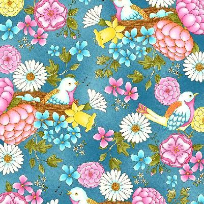 Cotton Quilt Fabric Peaceful Pastimes Large Floral With Birds Blue  - product images  of
