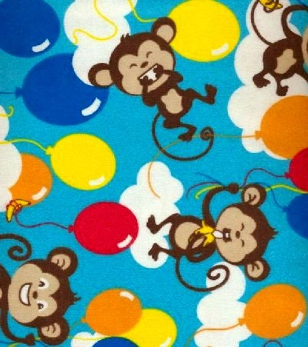 Cotton Flannel Quilt Fabric Snuggle Monkey Balloons Turquoise Blue - product images  of