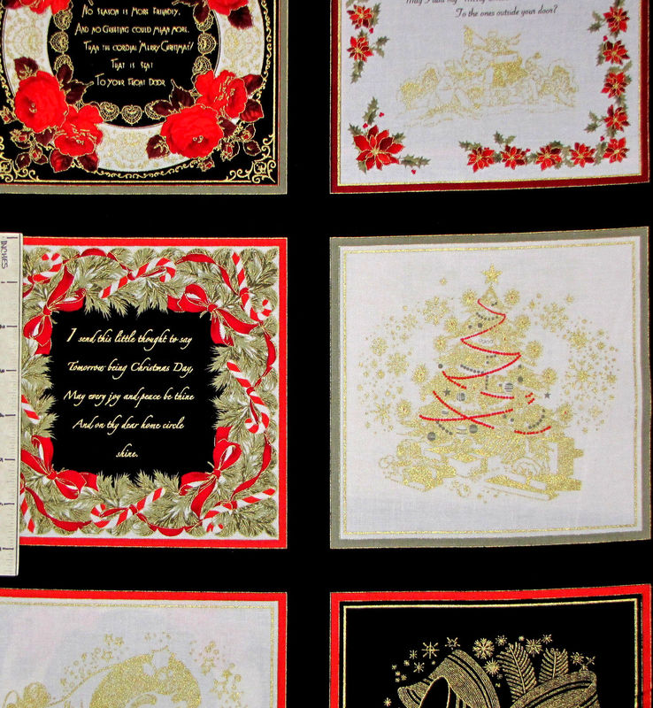 Christmas Fabric Panel Season's Greetings Holiday Benartex - product images  of