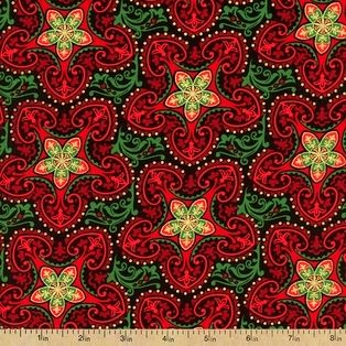 Cotton Quilt Fabric Deck The Halls Metallic Christmas Stars Red/Green Gold  - product images  of
