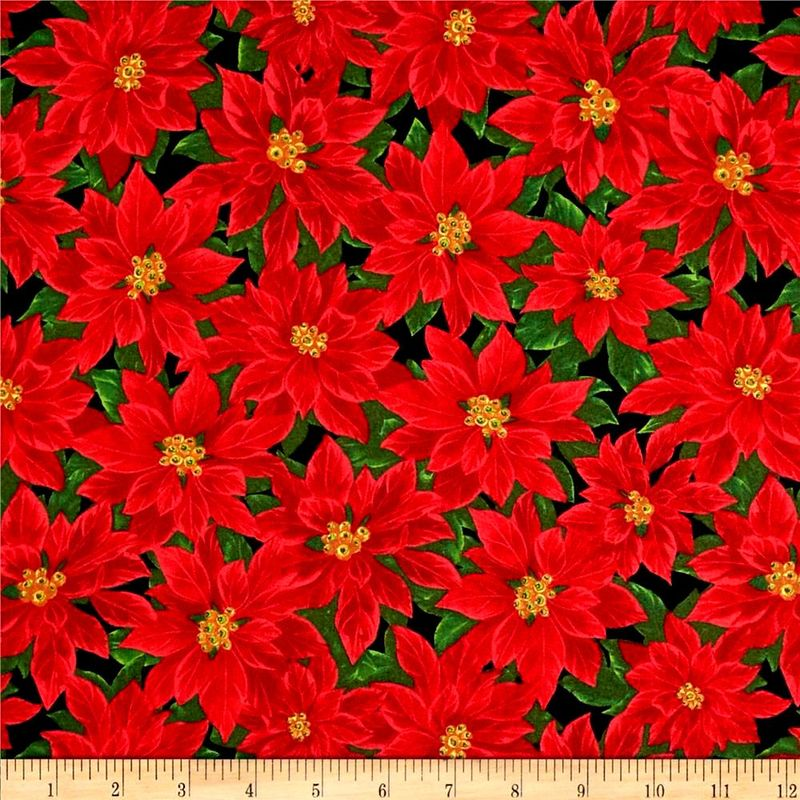 Cotton Quilt Fabric Christmas Deck the Halls Poinsettias Red Green Black - product images  of