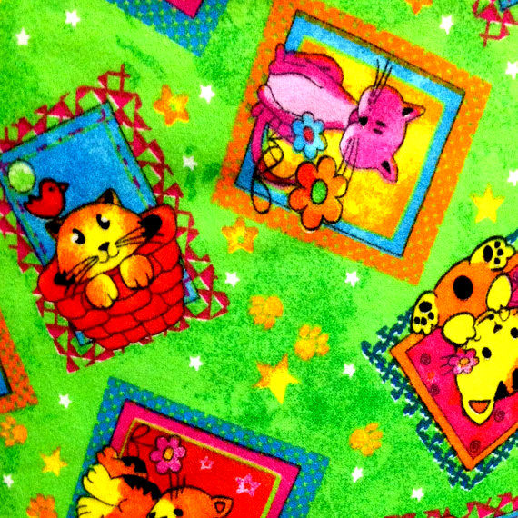 Cotton Quilt Fabric Flannel Playful Pets Cat Patch Green Multi - product images  of