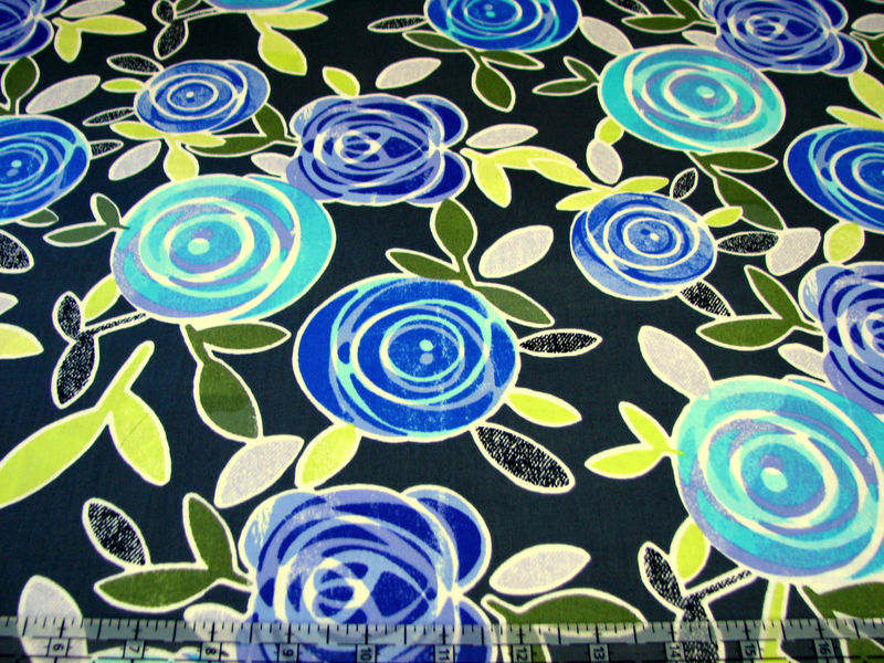Cotton Quilt Fabric Lulu Large Stylized Floral Dark Grey - product images  of