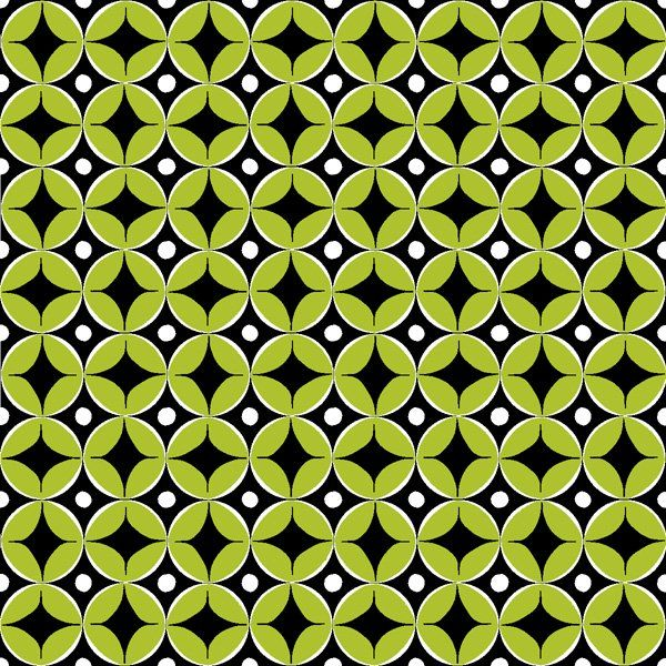 Cotton Quilt Fabric Metropia Modern Geometric Leaf Dots Lime Black  - product image