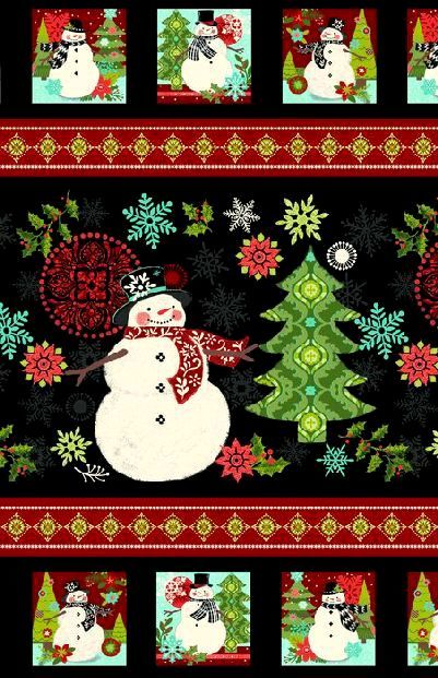 Easy Christmas Fabric Panel Quilt Kit Holly Jolly Snowman Quick Beginners - product images  of