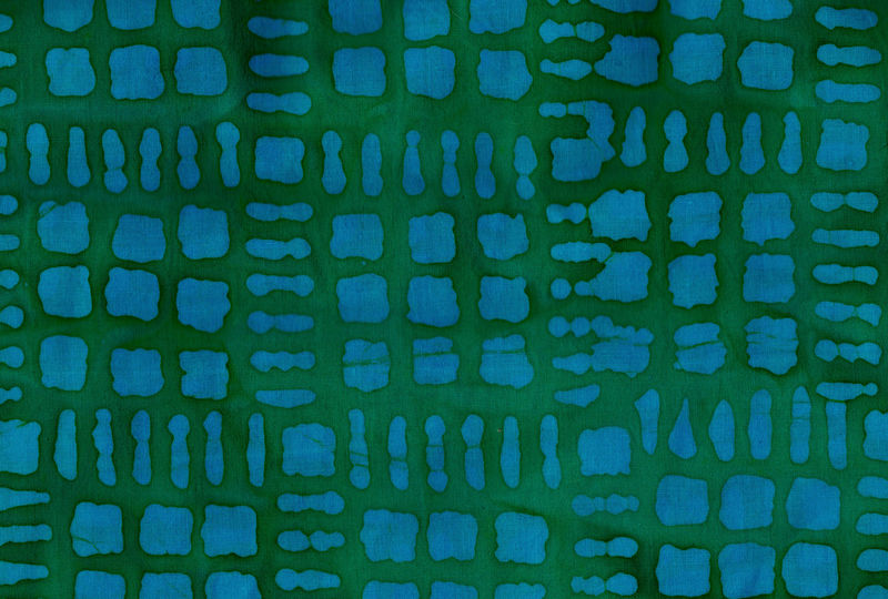 Cotton Quilt Fabric Batik Hollow Ridge Square Patch Jade Blue Green - product image