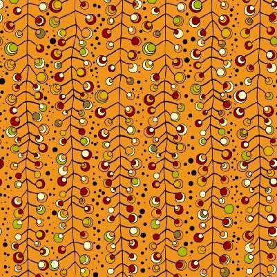 Cotton Quilt Fabric Brook Modern Branches Dot Geometric Orange  - product image