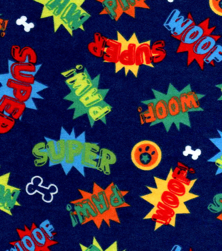 Cotton Flannel Quilt Fabric Snuggle Super Dog Words Navy Blue - product image