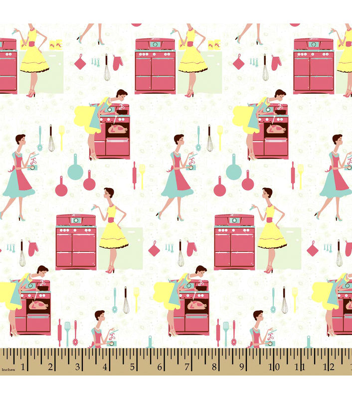 Cotton Flannel Quilt  Fabric Snuggle Kitchen Patchwork Retro Fifties   - product image