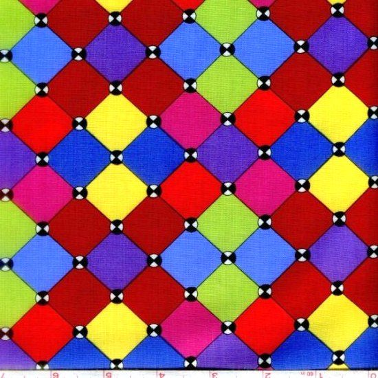Cotton Quilt Fabric Imagine This Bright Tiles Multi color Geometric - product image