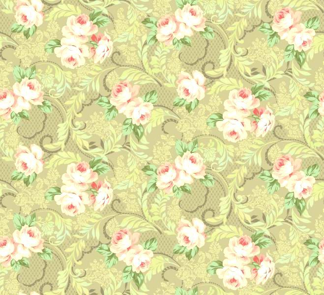 Cotton Quilt Fabric Downton Lace Large Floral Taupe - product images  of