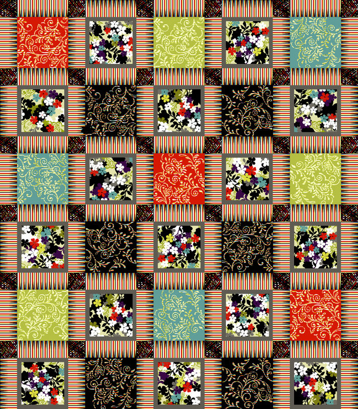 Cotton Quilt Fabric Costa De La Flores Folkloric Patchwork Caliente - product image
