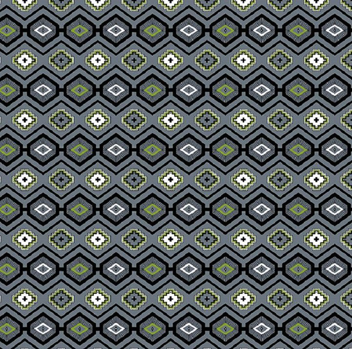 Cotton Quilt Fabric Flannel Native Geo Grey Southwest Indian - product image