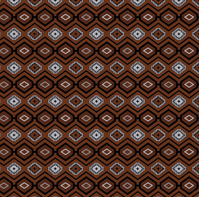 Cotton Quilt Fabric Flannel Native Geo Brown Southwest Indian - product image