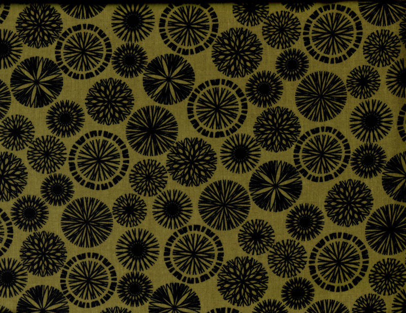 Cotton Quilt Fabric Origins Silhouette Slate Black Medallions Benartex  - product images  of