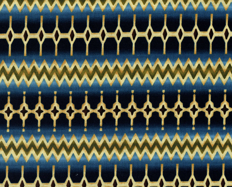 Cotton Quilt Fabric Southwest Stripe Geometric Benartex Navy - product image