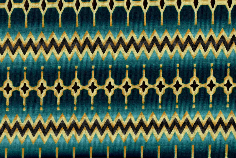 Cotton Quilt Fabric Southwest Stripe Geometric Benartex Teal Blue - product image