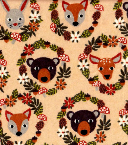 Cotton,Quilt,Fabric,Flannel,Snuggle,Animal,Wreaths,Woodland,quilt fabric,cotton material,sewing,crafts,quilting,online fabric,sale fabric,quilt backings,modern cotton,fat quarters,moda