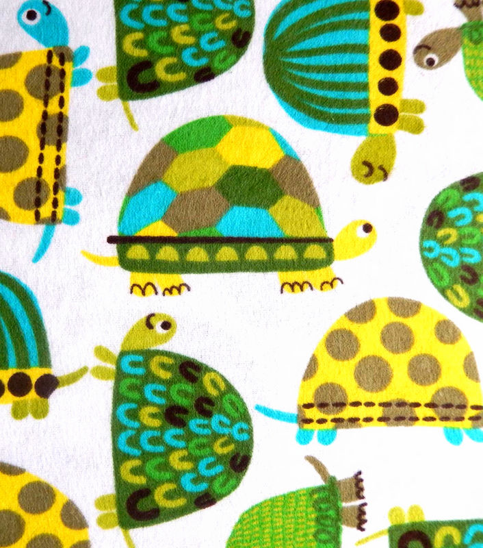 Cotton Quilt Fabric Flannel Snuggle Funky Turtles White Green Blue - product image