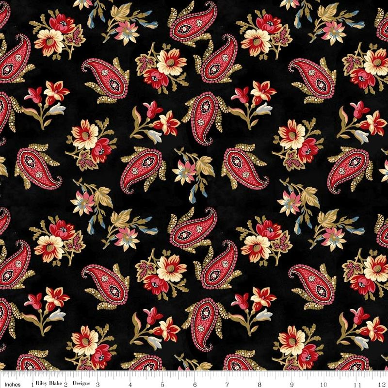 Cotton Quilt Fabric Victoria Reproduction Red Black Penny Rose - product image
