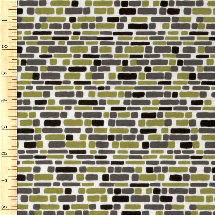 Cotton Quilt Fabric Annalee Bricks In Green Jane Dixon Modern  - product images  of