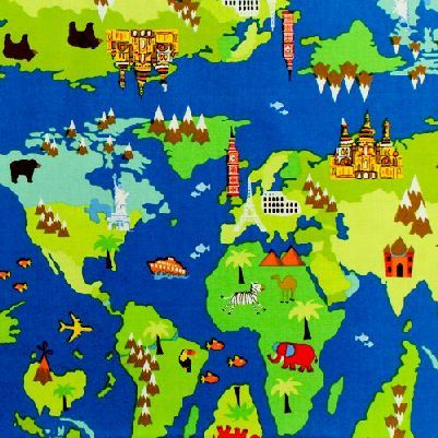 Cotton Quilt Fabric Timeless Treasures World Map Continents Blue - product images  of