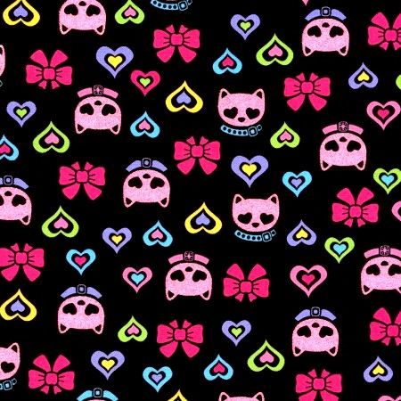 Cotton Quilt Fabric Fun Bling Bling Girls Glitter Cats Pink Black - product image