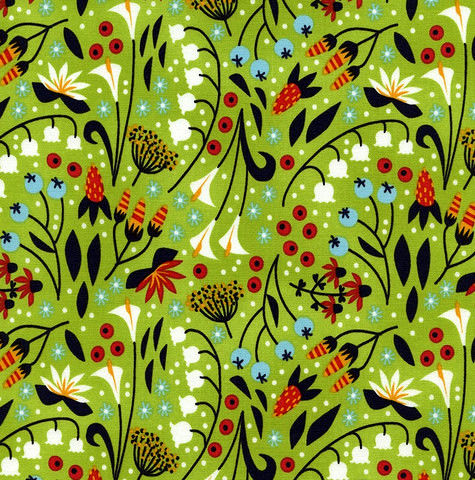 Cotton Quilt Fabric Samarra Folk Art Floral Green Multi - product images  of