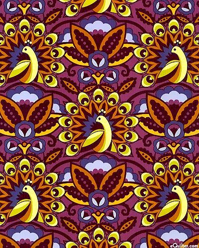 Cotton Quilt Fabric Feathers And Fancy Peacock Parade Mulberry Deco Style - product images  of