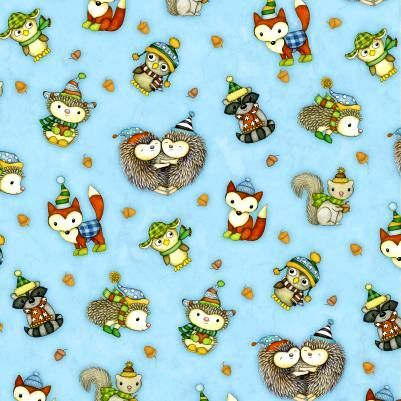 Cotton Quilt Fabric Hedgehugs Hedgehog Fox Raccoon Owl Baby Blue  - product image