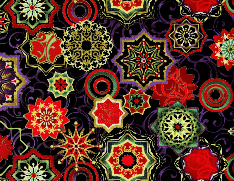 Cotton Quilt Fabric Holiday Reflections Medallions Black Multi Metallic - product images  of
