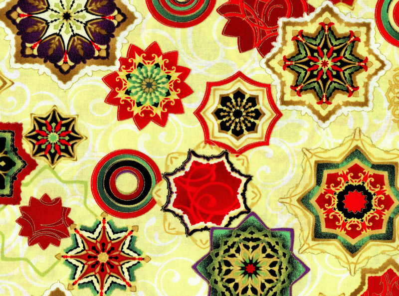 Cotton Quilt Fabric Holiday Reflections Medallions Multi Metallic - product images  of