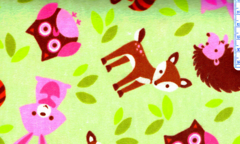 Cotton Quilt Fabric Flannel Pink Critter Toss Deer Hedgehog Bunny Multi - product image