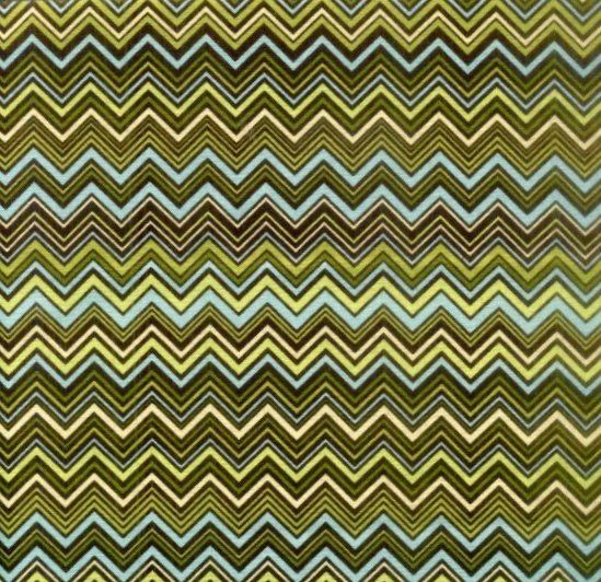 Cotton Quilt Fabric Indian Summer Skinny Chevron Brown Teal Green - product image